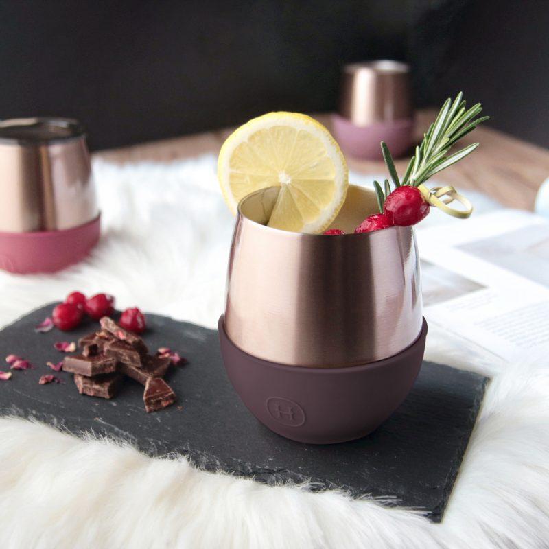 美國 HYDY Delicia 優雅雙層隨行保溫杯 蛋型杯 蜜粉金杯 (野櫻桃)