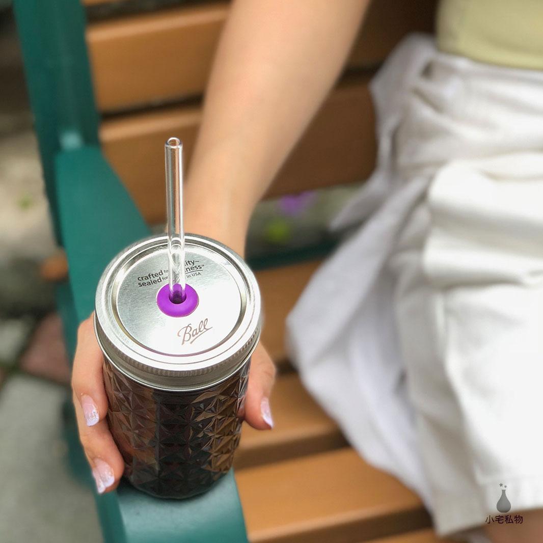 美國 Ball 梅森罐 玻璃吸管繽紛飲料杯組 窄口系列 (贈吸管專用清潔刷&束口麻布袋)