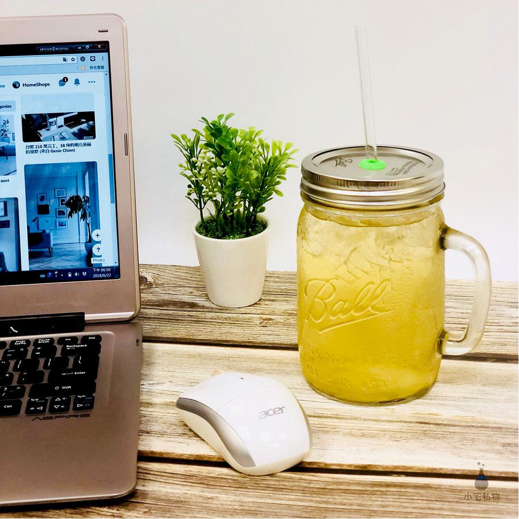 美國 Ball 梅森罐 玻璃吸管繽紛飲料杯組 (贈吸管專用清潔刷&束口麻布袋)