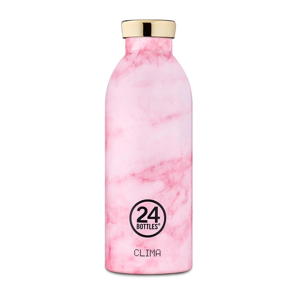 義大利 24Bottles 不鏽鋼雙層保溫瓶 500ml (粉紅大理石)