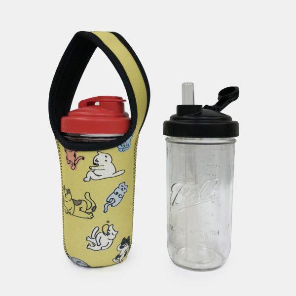 BLR 24oz梅森罐 reCAP 彈跳吸管飲料杯袋組 懶貓