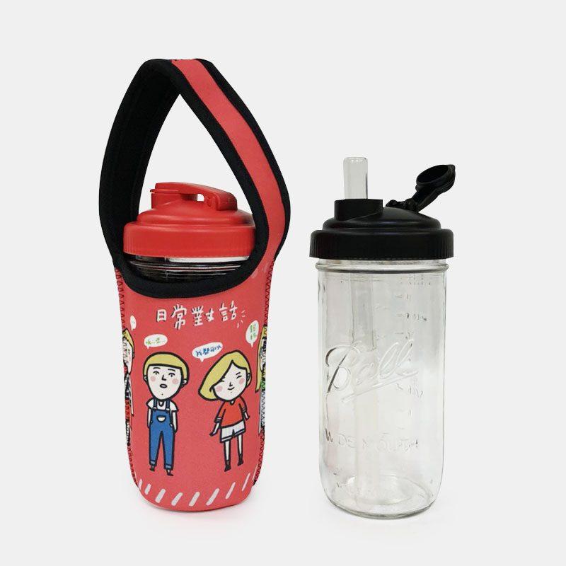 BLR 24oz梅森罐 reCAP 彈跳吸管飲料杯袋組 日常對話 (紅藍雙面)