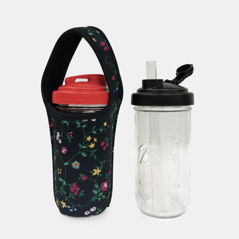 BLR 24oz梅森罐 reCAP 彈跳吸管飲料杯袋組 黑底綠盞花