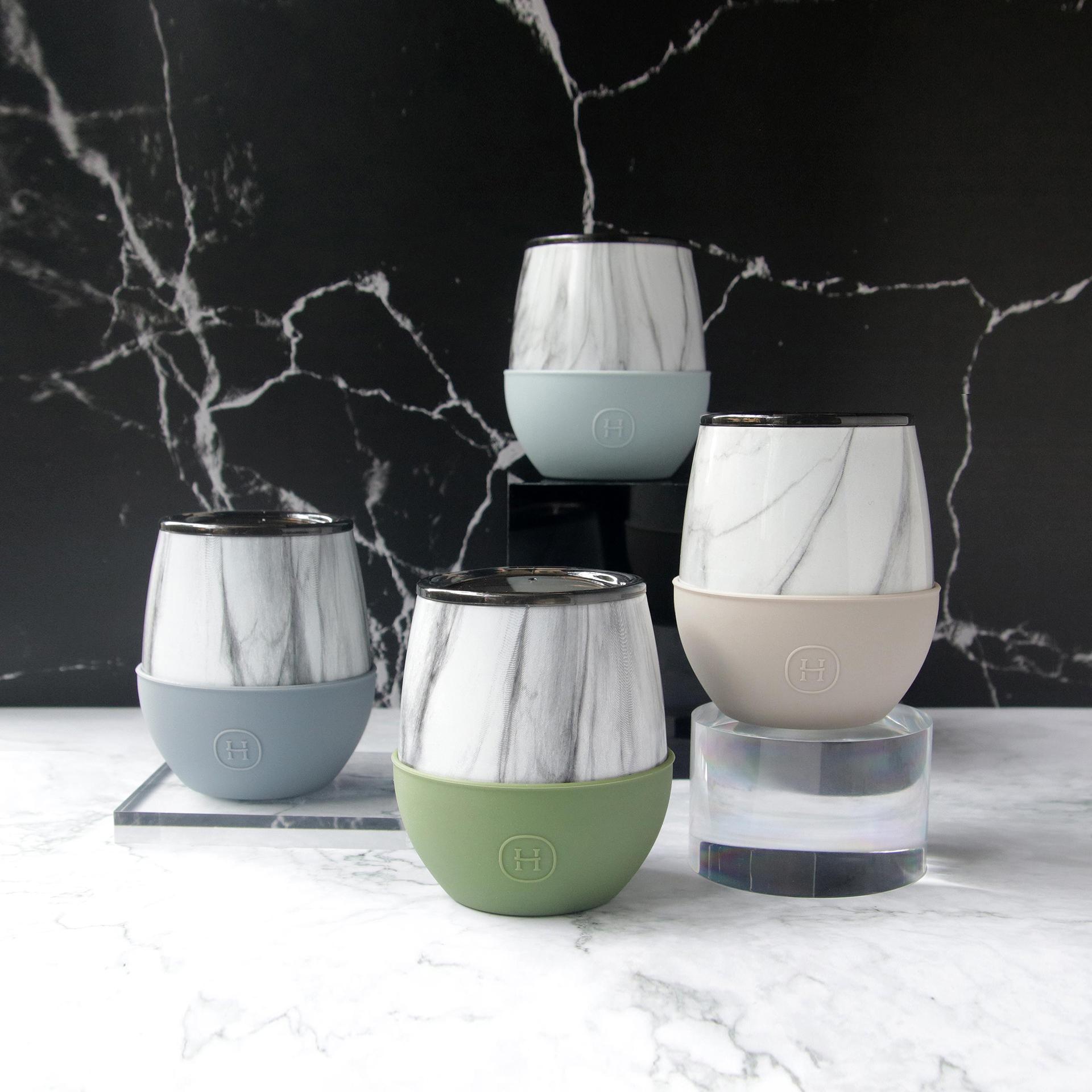 美國 HYDY Delicia 大理石紋雙層隨行保溫杯 蛋型杯4入組