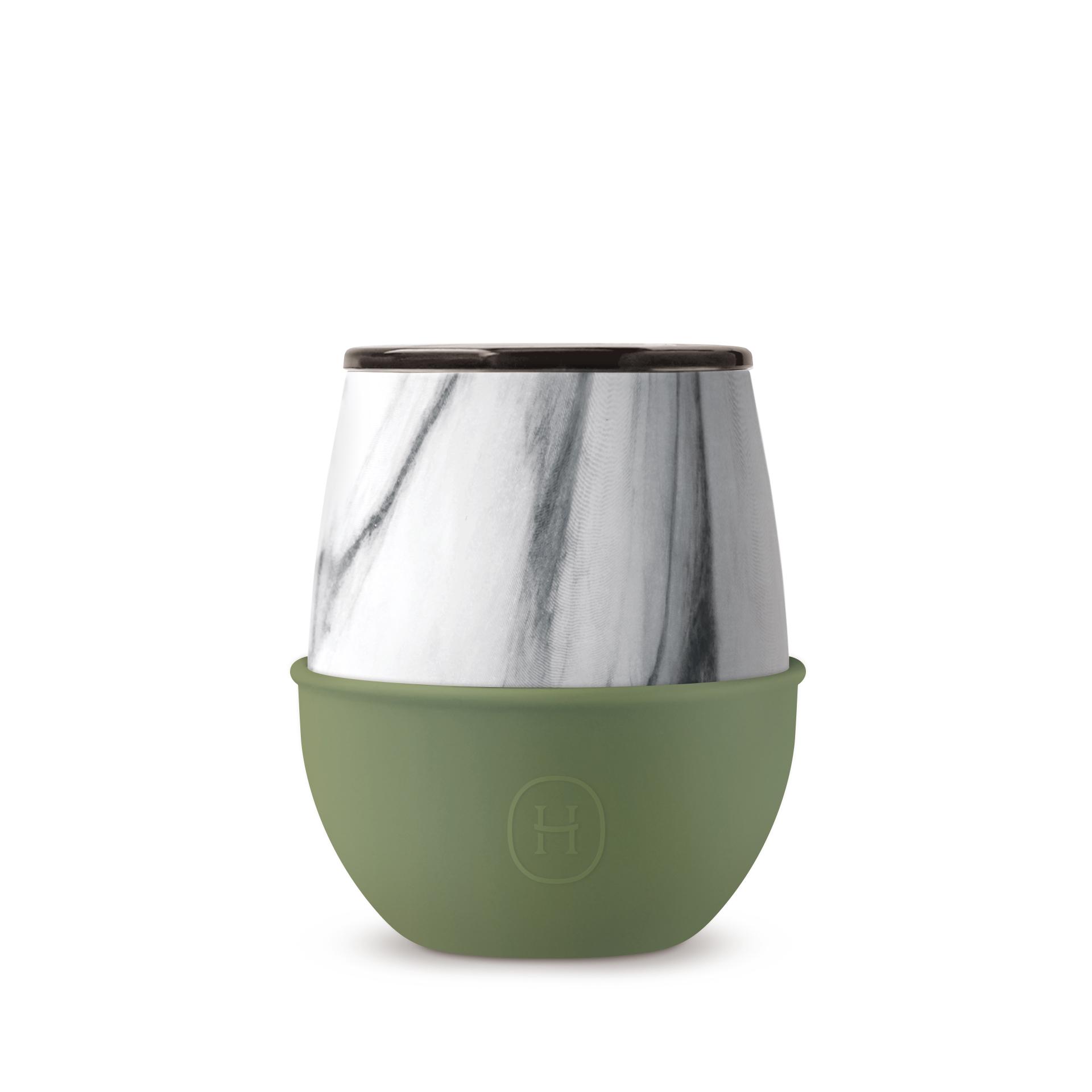 美國 HYDY Delicia 大理石紋雙層隨行保溫杯 蛋型杯 橄欖綠 240ml
