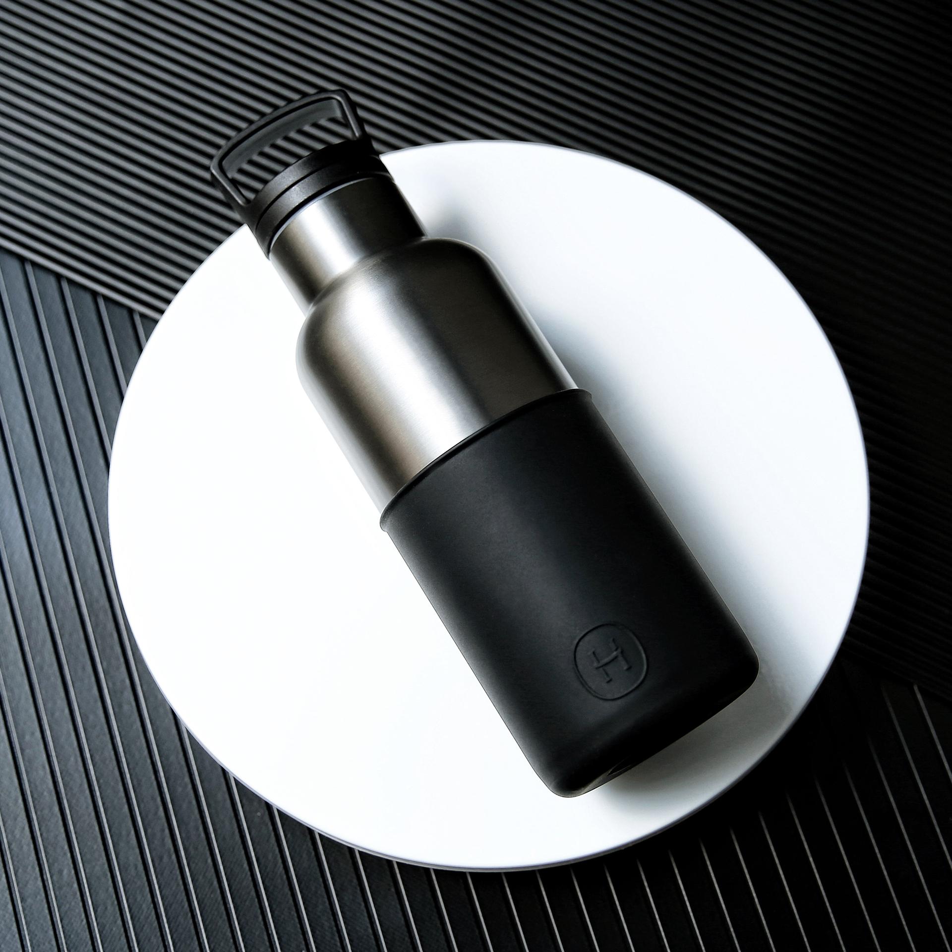 美國 HYDY 時尚不銹鋼保溫水瓶 480ml 鈦灰瓶 (油墨黑)