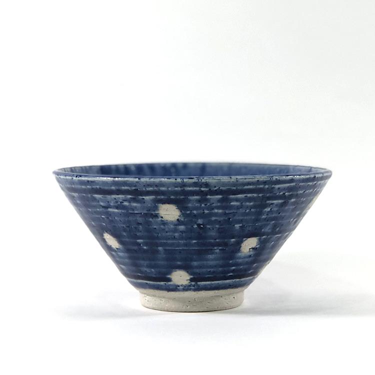 日本 美濃燒 水玉 瓷碗 -藍色3