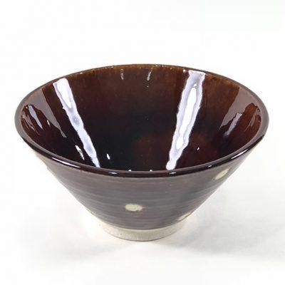 日本 美濃燒 水玉 瓷碗 -咖啡色