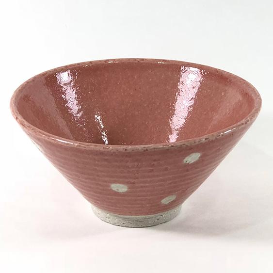 日本 美濃燒 水玉 瓷碗 -粉色