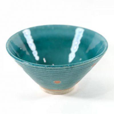 日本 美濃燒 水玉 瓷碗 -綠色
