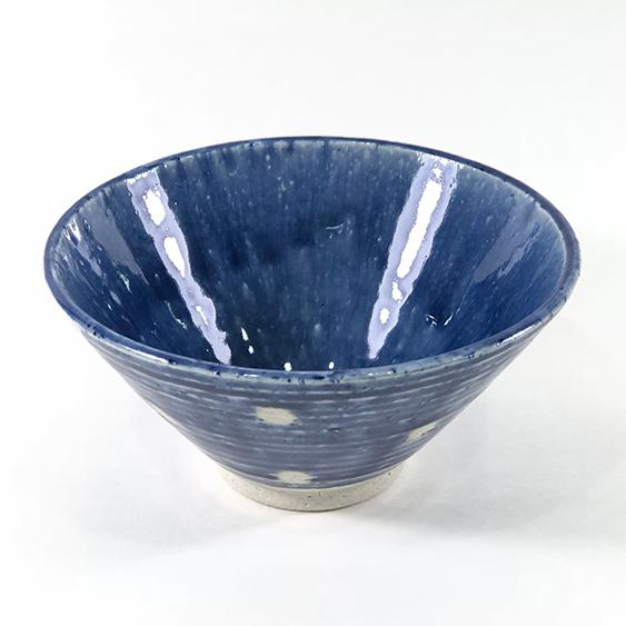 日本 美濃燒 水玉 瓷碗 -藍色