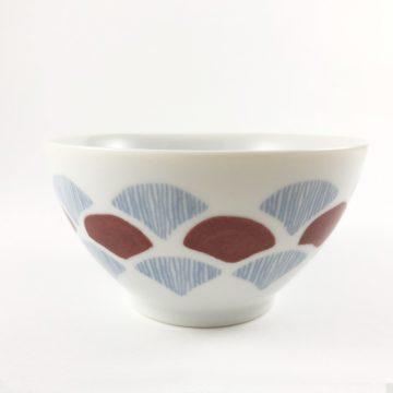 750_日本美濃焼青海波扇形瓷碗01