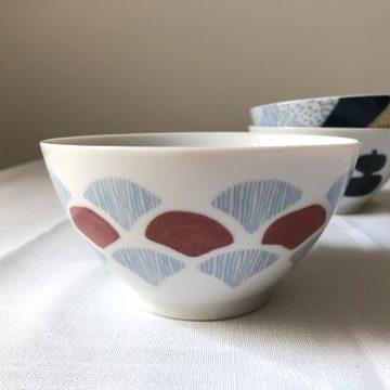 日本 美濃燒 手繪青海波 瓷碗