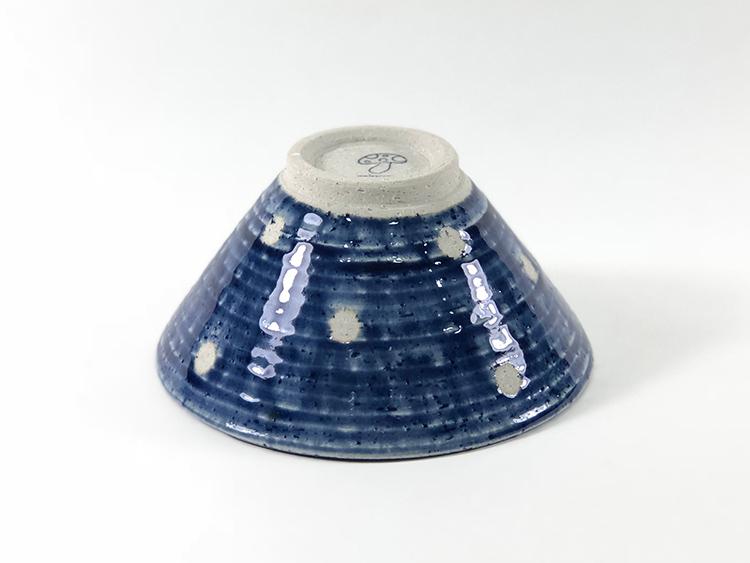 日本 美濃燒 水玉 瓷碗 -藍色2