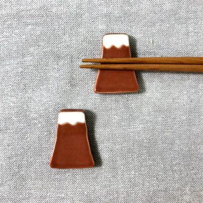 日本 美濃燒 手作富士山筷架 -紅