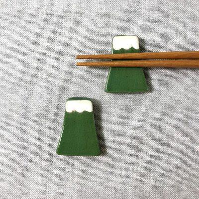 日本 美濃燒 手作富士山筷架 -綠