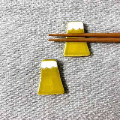 日本 美濃燒 手作富士山筷架 -黃