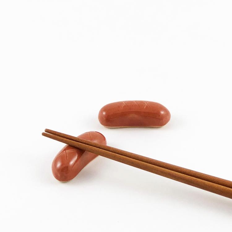 日本 美濃燒 陶製筷架 熱狗