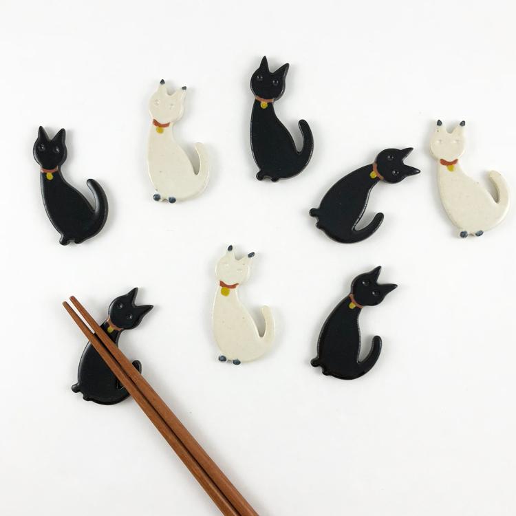 日本 美濃燒 可愛貓咪 陶製筷架