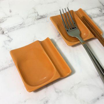 日本美濃燒兩用筷架-橘