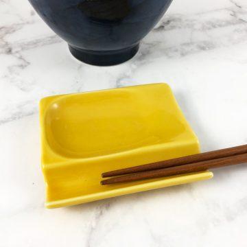 750_日本美濃燒多功能筷架黃01