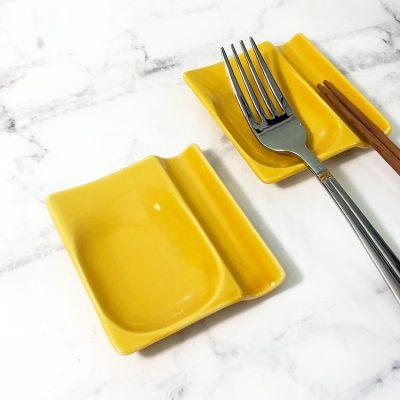 日本美濃燒兩用筷架-黃
