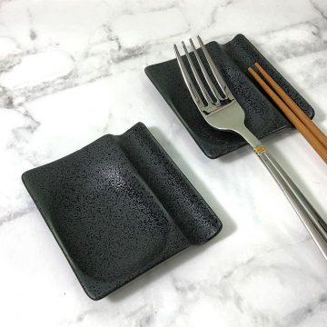 日本美濃燒兩用筷架-黑