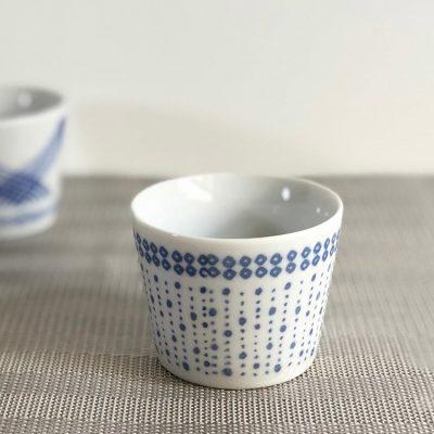 日本 美濃燒 藍點小草 茶杯 豬口杯
