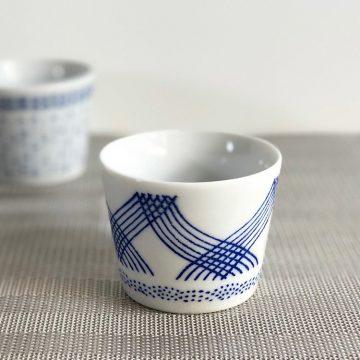 日本 美濃燒 藍格紋 茶杯 豬口杯