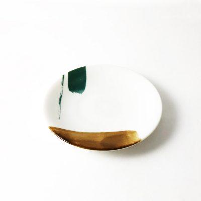 日本 美濃燒 akrel 小圓盤 -棕綠