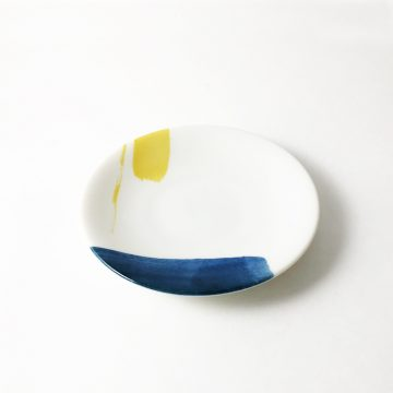 日本 美濃燒 akrel 小圓盤 -藍黃