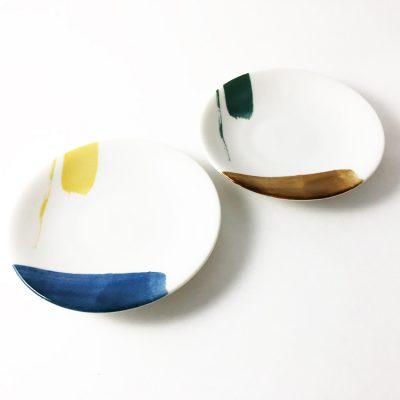 750_日本美濃燒akrel藍黃小圓盤02
