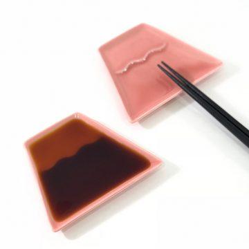 日本 美濃燒 富士山 醬料碟 小菜碟 -粉