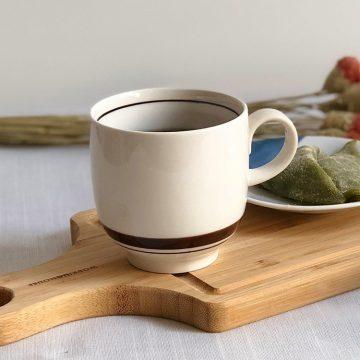 日本 美濃燒 陶作 馬克杯 -米色