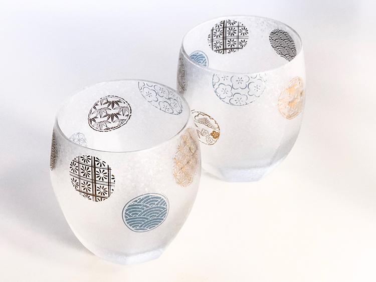 日本 石塚哨子 霧面 丸紋 玻璃杯2