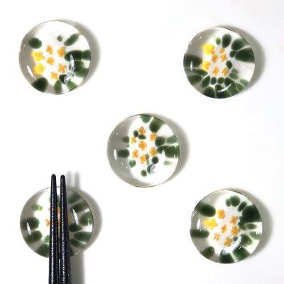 日本 津輕 手工玻璃 筷架-秋桂花