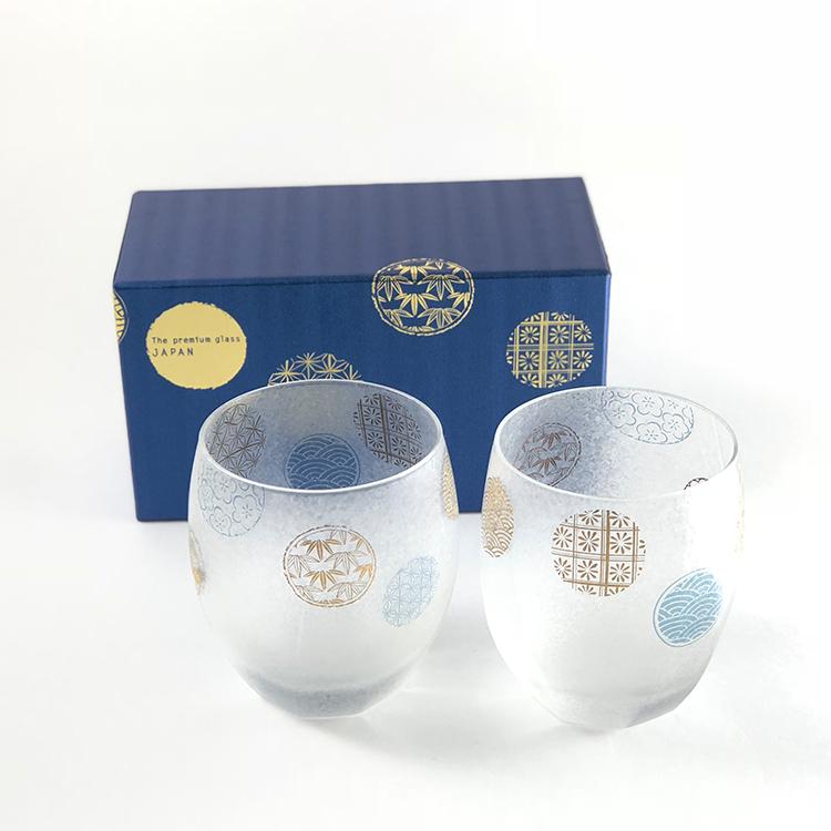日本 石塚哨子 霧面 丸紋 玻璃杯