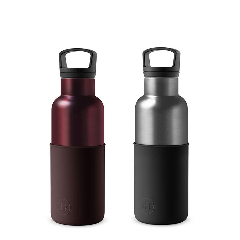 美國 HYDY 時尚不銹鋼保溫水瓶雙瓶組 勃根地紅瓶+鈦灰瓶 (顏色任選)