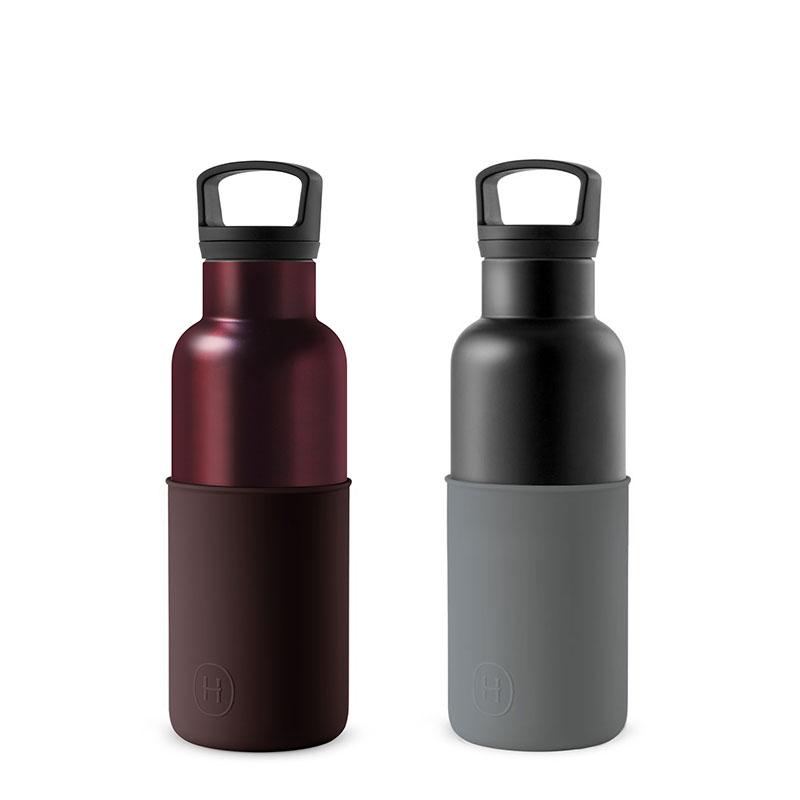 美國 HYDY 時尚不銹鋼保溫水瓶雙瓶組 輕巧黑瓶+勃根地紅瓶 (顏色任選)
