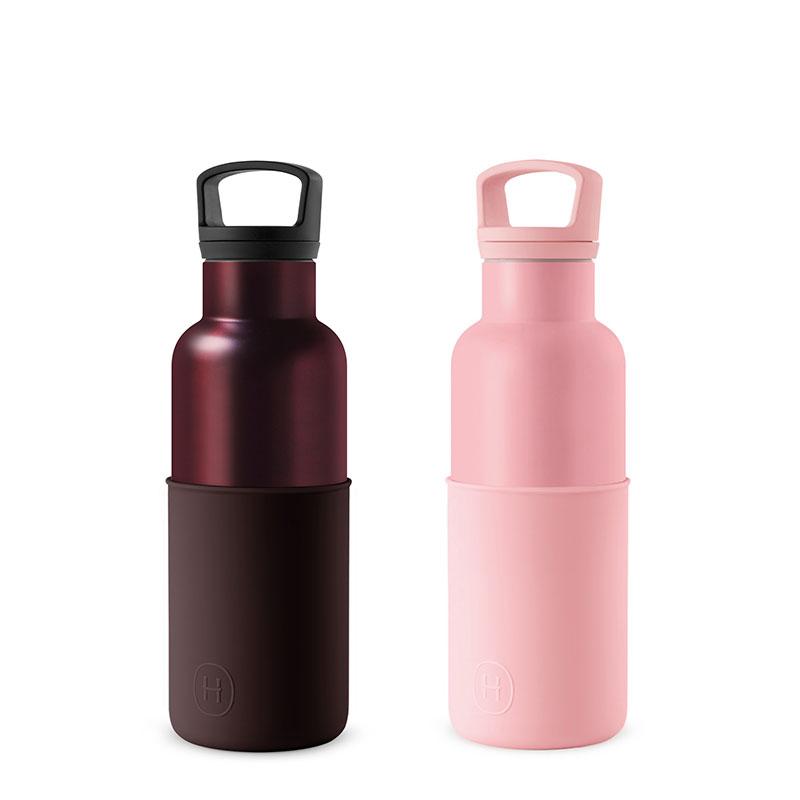 美國 HYDY 時尚不銹鋼保溫水瓶雙瓶組 玫瑰粉瓶+勃根地紅瓶 (顏色任選)