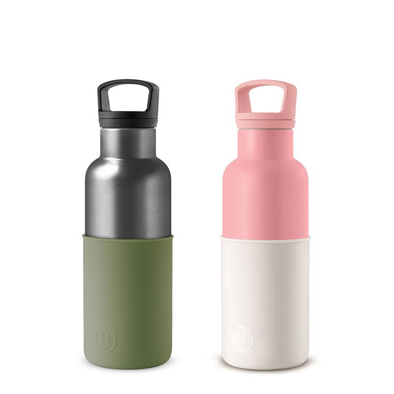 美國 HYDY 時尚不銹鋼保溫水瓶雙瓶組 玫瑰粉瓶+鈦灰瓶 (顏色任選)