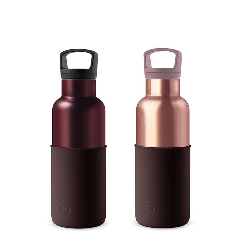 美國 HYDY 時尚不銹鋼保溫水瓶雙瓶組 勃根地紅瓶+蜜粉金瓶 (顏色任選)