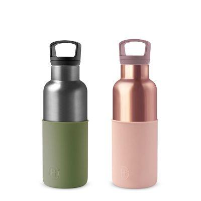 美國 HYDY 時尚不銹鋼保溫水瓶雙瓶組 蜜粉金瓶+鈦灰瓶 (顏色任選)