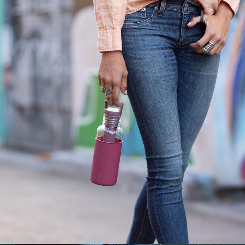 美國 HYDY 輕靚系列 透明冷水瓶 590ml 透明 (酒紅)