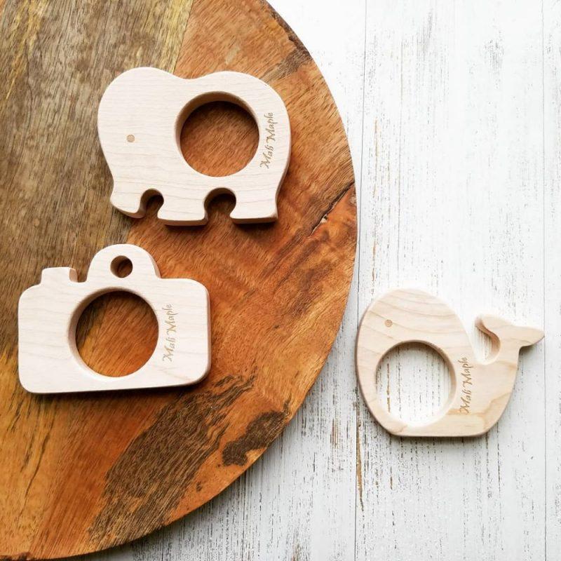 美國 Mali Wear 天然原木手工嬰幼兒動物造型原木固齒器 3入組(大)