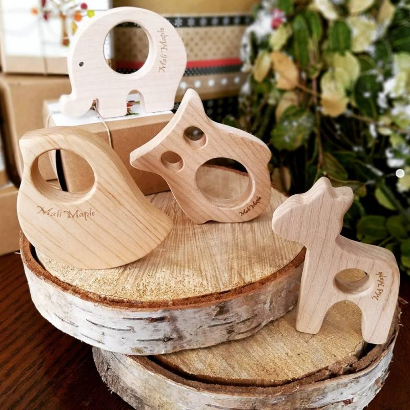 美國 Mali Wear 天然原木手工嬰幼兒動物造型原木固齒器 4入組(小)