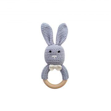 美國 Mali Wear 天然原木手工嬰幼兒兔兔造型手搖鈴固齒玩具 小灰兔款