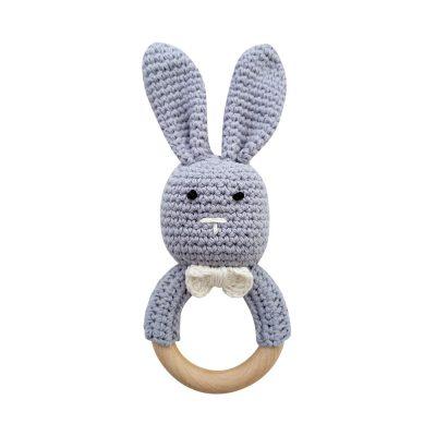 美國 Mali Wear 天然原木手工嬰幼兒兔兔造型手搖鈴固齒玩具 大灰兔款