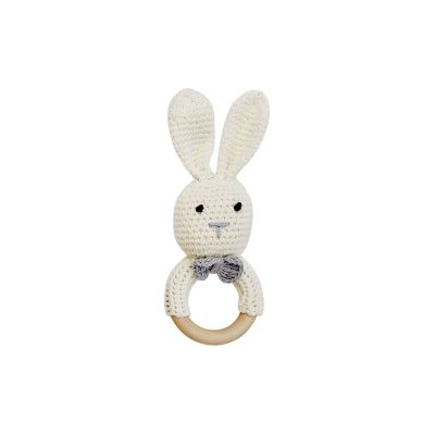 美國 Mali Wear 天然原木手工嬰幼兒兔兔造型手搖鈴固齒玩具 小白兔款