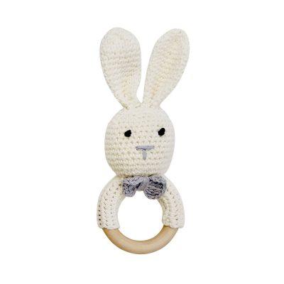 美國 Mali Wear 天然原木手工嬰幼兒兔兔造型手搖鈴固齒玩具 大白兔款